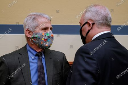 Infectious Diseases Director Dr. Anthony Fauci (L) speaks to Rep. Steve Scalise, R-La., during a hearing of the House Select Subcommittee on the Coronavirus Crisis at the U.S. Capitol in Washington DC, on Thursday, April 15, 2021.
