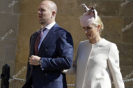 Zara and Mike Tindall arrive to attend the Easter Mattins Service at St. George's Chapel, at Windsor Castle in England. Buckingham Palace on Thursday, April 15, 2021 released the broad outlines of the program for Prince Philip's funeral, revealing that William and Harry's cousin Peter Phillips would walk between the princes as they escort the coffin to St. George's Chapel at Windsor Palace. Zara and Mike Tindall are two of the 30 invited guests