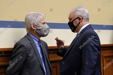 Dr. Anthony Fauci, the nation's top infectious disease expert (L) talks with House Minority Whip Steve Scalise, R-La.,during a hearing of the House Select Subcommittee on the Coronavirus Crisis at the U.S. Capitol in Washington DC, on Thursday, April 15, 2021.