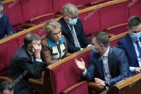 Batkivshchyna faction leader, MP Yulia Tymoshenko (C) is pictured during the regular sitting of the Ukrainian parliament, Kyiv, capital of Ukraine.