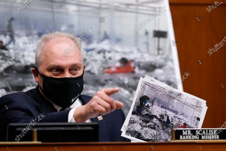 United States House Minority Whip Steve Scalise (Republican of Louisiana), Ranking Member, US House Select Subcommittee on the Coronavirus Crisis, talks about the border during a House Select Subcommittee hearing on Capitol Hill in Washington,, on the coronavirus crisis.