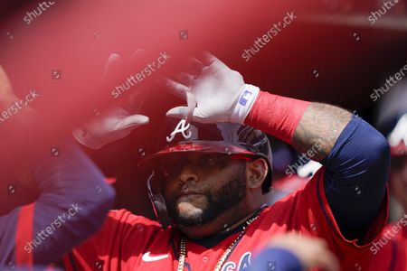 Atlanta Braves' Pablo Sandoval (48) celebrates after scoring a home run in the sixth inning of a baseball game against the Miami Marlins, in Atlanta