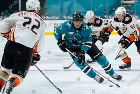 San Jose Sharks left wing Evander Kane (9) in action against the Anaheim Ducks during the third period of an NHL hockey game, in San Jose, Calif