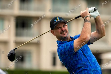 Rory Sabbatini hits off the 10th tee during the first round of the RBC Heritage golf tournament in Hilton Head Island, S.C