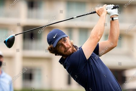 Tommy Fleetwood, of England, hits off the 10th tee during the first round of the RBC Heritage golf tournament in Hilton Head Island, S.C