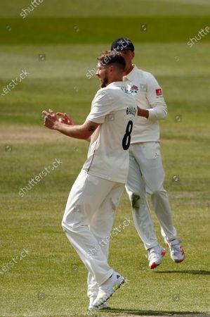Tom Bailey of Lancashire celebrates after dismissing Rob Keogh of Northamptonshire; Emirates Old Trafford, Manchester, Lancashire, England; English County Cricket, Lancashire versus Northants.