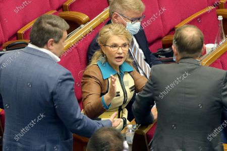 Batkivshchyna faction head, MP Yulia Tymoshenko (C) is pictured during an extraordinary sitting of the Verkhovna Rada, Kyiv, capital of Ukraine.