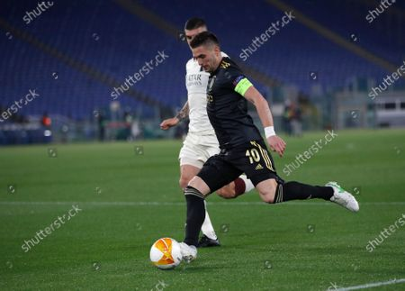 Ajax's Dusan Tadic in action during the Europa League second leg quarterfinal soccer match between Roma and Ajax at Rome's Olympic stadium, Italy