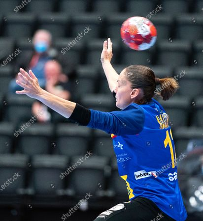 Spain's goalkeeper Silvia Navarro in action during the women's friendly test handball match between Denmark and Spain at Royal Stage in Hilleroed, Denmark, 15 April 2021.