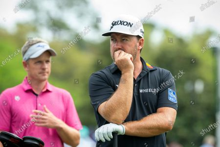 Graeme McDowell, of Northern Ireland, waits to hits off the 10th tee during the first round of the RBC Heritage golf tournament in Hilton Head Island, S.C