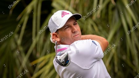 Sergio Garcia, of Spain, watches his drive down the 11th fairway during the first round of the RBC Heritage golf tournament in Hilton Head Island, S.C