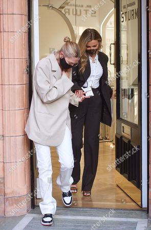 Editorial image of Heloise Agostinelli and Sophie Hermann out and about, London, UK - 15 Apr 2021