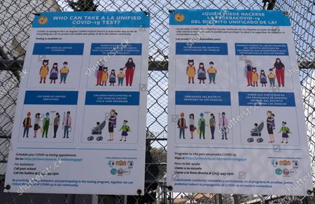 Stock Image of Los Angeles Unified School District, LAUSD instructions for eligibility for free COVID-19 tests provided for LAUSD community members are posted at a site run by the LAUSD in East Los Angeles . California Gov. Gavin Newsom is urging all schools in the state to reopen, saying there are no health barriers to getting children back into classrooms and ending distance learning
