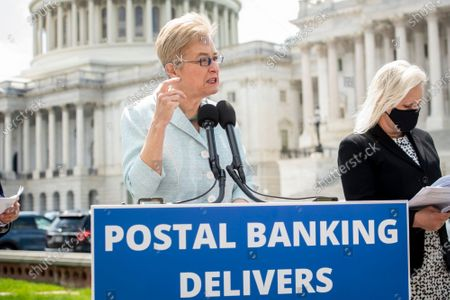 United States Representative Marcy Kaptur (Democrat of Ohio) offers remarks during a press conference on postal banking pilot programs on the East Front of the US Capitol in Washington, DC,.