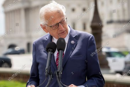 United States Representative Bill Pascrell (Democrat of New Jersey) offers remarks during a press conference on postal banking pilot programs on the East Front of the US Capitol in Washington, DC,.
