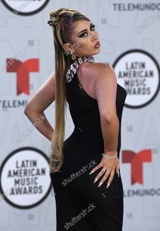 Kali Uchis arrives at the Latin American Music Awards at the BB&T Center, in Sunrise, Fla
