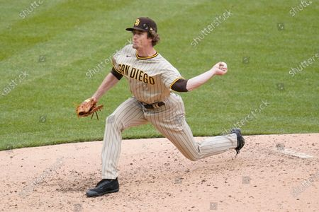 San Diego Padres relief pitcher Tim Hill throws against the Pittsburgh Pirates in the sixth inning of a baseball game, in Pittsburgh