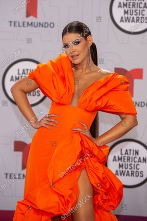 Puerto Rican actress Vanessa Claudio arrives on the red carpet for the Sixth Annual Latin American Music Awards at the BB&T Center in Sunrise, Florida, USA, 15 April 2021. The Latin American Music Award nominations are based on fan interactions with music in areas of sales, streaming and airplay as tracked by Billboard for the period 17 January 2020 through 21 January 2021.