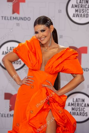 Stock Photo of Puerto Rican actress Vanessa Claudio arrives on the red carpet for the Sixth Annual Latin American Music Awards at the BB&T Center in Sunrise, Florida, USA, 15 April 2021. The Latin American Music Award nominations are based on fan interactions with music in areas of sales, streaming and airplay as tracked by Billboard for the period 17 January 2020 through 21 January 2021.