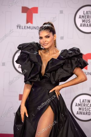 Stock Image of Ana Barbara arrives on the red carpet for the Sixth Annual Latin American Music Awards at the BB&T Center in Sunrise, Florida, USA, 15 April 2021. The Latin American Music Award nominations are based on fan interactions with music in areas of sales, streaming and airplay as tracked by Billboard for the period 17 January 2020 through 21 January 2021.