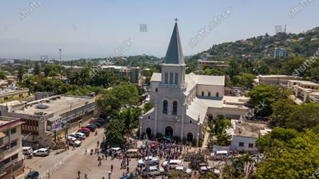 Aerial view of the church of San Pedro at Petion-Ville, Port-au-Prince, Haiti, 15 April 2021. The bishops of Haiti celebrated a mass to protest against the abduction of twelve members of the clergy on 11 April. Since July 2018, Haiti has been mired in a strong protest movement demanding the resignation of President Jovenel Moise on allegations of not keeping his promises and profiting from corruption.