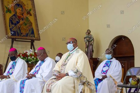 Members of the clergy participate in a mass at the church of San Pedro at Petion-Ville, Port-au-Prince, Haiti, 15 April 2021. The bishops of Haiti celebrated a mass to protest against the abduction of twelve members of the clergy on 11 April. Since July 2018, Haiti has been mired in a strong protest movement demanding the resignation of President Jovenel Moise on allegations of not keeping his promises and profiting from corruption.