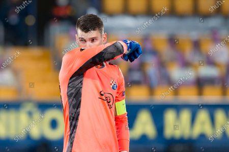 Dominik Livakovic of Dinamo Zagreb seen in action during the UEFA Europa League Quarter Final Second Leg match between Villarreal and Dinamo Zagreb at Estadio de la Ceramica. (Final score; Villareal CF 2:1 Dinamo Zagreb)