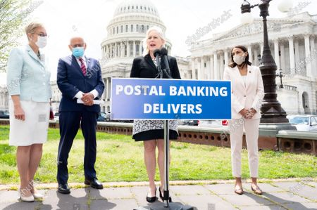 U.S. Senator Kirsten Gillibrand (D-NY) speaks at a press conference about the postal banking pilot program.