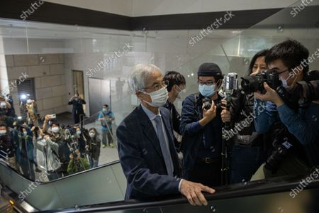 Former lawmaker Martin Lee Chu-Ming (C) arrives at the West Kowloon court building in Hong Kong, China, 16 April 2021. He is among nine democracy activists currently on trial and expected to be sentenced on 16 April for unauthorized assembly during a protest in 2019.