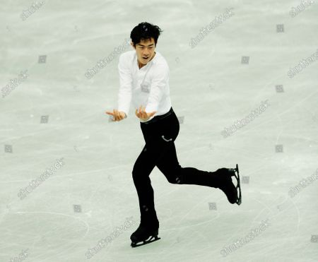 USA's Nathan Chen performs during the men's short program of the ISU World Team Trophy figure skating competition in Osaka, western Japan