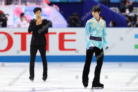 (L to R)  Nathan Chen (USA),  Yuzuru Hanyu (JPN) - Figure Skating :  ISU World Team Trophy in Figure Skating 2021  Men's Free Skating  at Maruzen Intec Arena Osaka, Osaka, Japan.