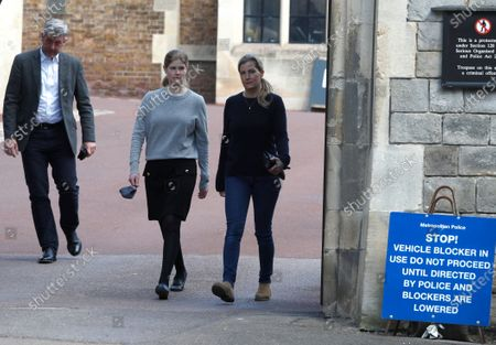 Sophie, Countess of Wessex with her daughter Lady Louise Windsor, walk out of Windsor Castle in Windsor, England, . Prince Philip husband of Britain's Queen Elizabeth II died April 9, aged 99, his funeral will take place Saturday at Windsor Castle in St George's Chapel