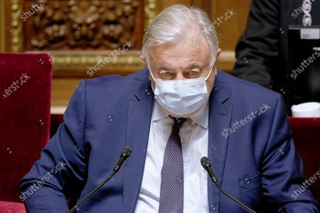 FRANCE - PARIS - SENAT - POLITICS - GOVERNMENT - President of French Senat Gerard Larcher attends at the speech of the French Prime Minister Jean Castex before the vote about the date and the health organization of regional and departemental elections in France - April 14, 2021, Paris