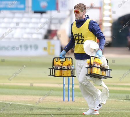 Durham's Alex Thomson On loan from Warwickshire during   LV Insurance County Championship Group 1 Day One  of Four between Essex CCC and Durham CCC at The Cloudfm County Ground on 15th April , 2021 in Chelmsford, England