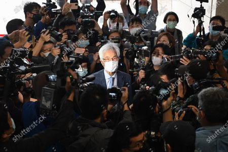 Pro-Democracy activist Martin Lee  , arrive at West Kowloon  Magistrates Court, to appear at a court for sentencing in Hong Kong, Friday, April 16, 2021. They are here in court to receive sentencing after being found guilty of organizing an unauthorised assembly on August 18, 2019.