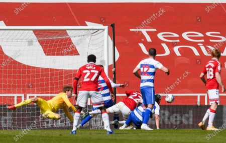 QPR Goalkeeper Joe Lumley makes a world class save from George Saville of Middlesbrough to keep the three points at 1-2