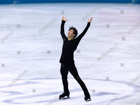 Stock Picture of USA's Nathan Chen performs during the men's free skating program of the ISU World Team Trophy figure skating competition in Osaka, western Japan