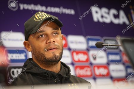 Anderlecht's head coach Vincent Kompany pictured during a press conference of Belgian soccer team RSC Anderlecht in Brussels, Friday 16 April 2021, ahead of their upcoming game of the 'Jupiler Pro League' Belgian soccer championship.