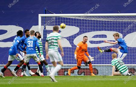 Filip Helander of Rangers clears the ball off the goal line.