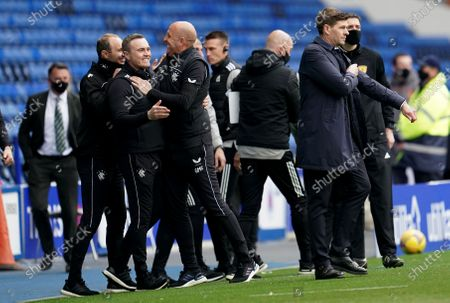 Rangers Assistant Manager Gary McAllister celebrates with coach Tom Culshaw at full time.
