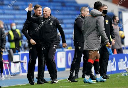 Rangers Assistant Manager Gary McAllister celebrates at full time.