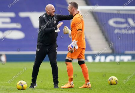Rangers Assistant Manager Gary McAllister celebrates with Allan McGregor of Rangers.