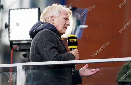 Stock Photo of Former Celtic and Scotland Manager Gordon Strachan seen working for TV after the match.