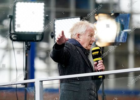 Former Celtic and Scotland Manager Gordon Strachan appears animated as he is seen working for TV after the match.