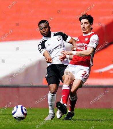 Ademola Lookman of Fulham battles with Hector Bellerin of Arsenal