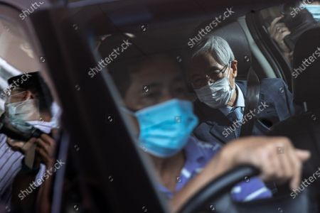 Martin Lee Chu-Ming (R) leaves the West Kowloon court buildings in Hong Kong, China, 16 April 2021. Lee was given a suspended 11-month sentence for his role in an unauthorized assembly during anti-government protests in 2019. He is among nine democracy activists that were on trial and sentenced on 16 April.
