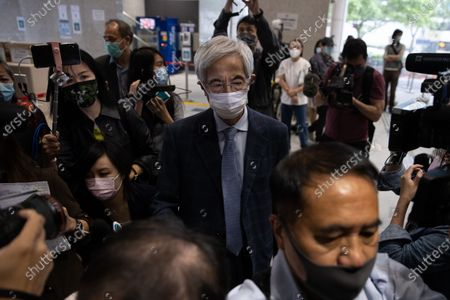 Martin Lee Chu-Ming (C) leaves the West Kowloon court buildings in Hong Kong, China, 16 April 2021. Lee was given a suspended 11-month sentence for his role in an unauthorized assembly during anti-government protests in 2019. He is among nine democracy activists that were on trial and sentenced on 16 April.