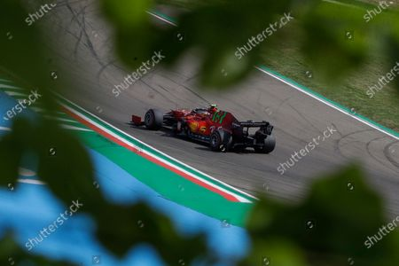 Ferrari driver Carlos Sainz of Spain steers his car during the second free practice session for Sunday's Emilia Romagna Formula One Grand Prix, at the Imola track, Italy