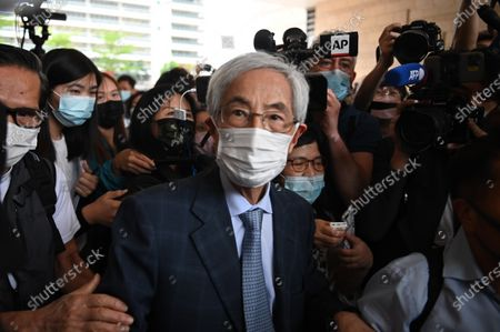 Martin Lee Leaves West Kowloon Magistrates Court, after appearing at a court for sentencing in Hong Kong, Friday, April 16, 2021. Several pro-democracy activists are in court to receive sentencing after being found guilty of organizing an unauthorised assembly on August 18, 2019.