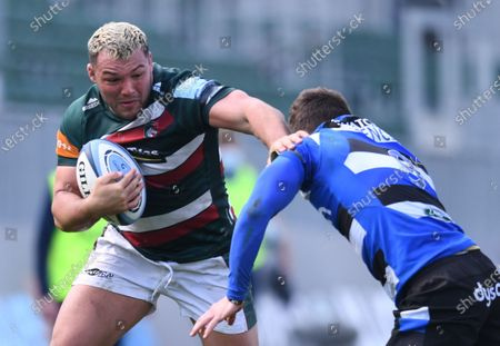 Ellis Genge of Leicester Tigers hands off Ben Spencer of Bath; 18th April 2021 2021; Recreation Ground, Bath, Somerset, England; English Premiership Rugby, Bath versus Leicester Tigers.